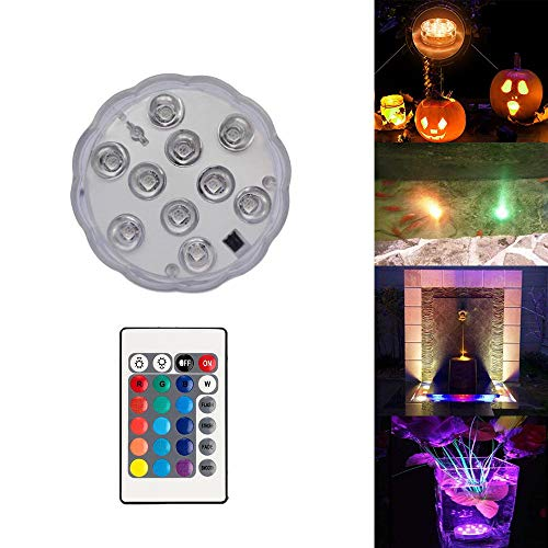 Garmaker Upgraded Submersible LED Lights,RGB Color Changing Party Lights Waterproof,4 Modes Submersible Lights Remote Controls Lighting Up Vase,Bowl,Fish Tank,Wedding,Halloween,Party Lights ()