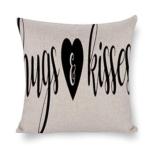 FGN Cotton Linen Throw Pillow Case Hugs and Kisses Cushion Cover Home Sofa Decorative 18 X 18 Inch(Cover Only,No -