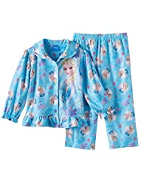 Disney Little Girls' Frozen Sisters Olaf Sparkle Snowflakes Pajama, Toddler