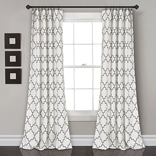 Bellagio Dining Set - Lush Decor Bellagio Room Darkening Curtains-Trellis Geometric Design Window Panel Drapes Set for Living, Dining, Bedroom (Pair), 84