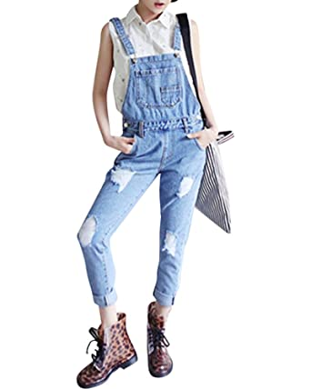 0be8bc04134 Quge Denim Jumpsuit Women Ankle Length Ripped Overalls Trousers Ladies  Jeans Rompers Retro XL