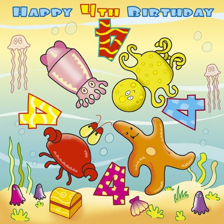 Twizler Spinning 4th Birthday Card For Child With Underwater Characters 4 Year Old Age