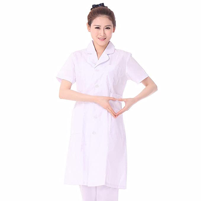 Xuanku Enfermera Blanca Camisa Blanca, Cuello Redondo Manga Corta Rosa Vestido De Enfermera, Enfermera Muñeca Femenina, Sub - Farmacia, S, ...