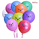 Elloapic 12 Inch Colorful Cat Face Balloons Cat Expression Cartoon Balloons Holiday Party Celebration Children's Birthday Layout Scene Atmosphere Decoration ( 100 Pcs )