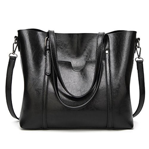 Women Bag Casual Vintage Shoulder Bag Leather Handbags Cross Body Bag Large Capacity Tote Bag Black