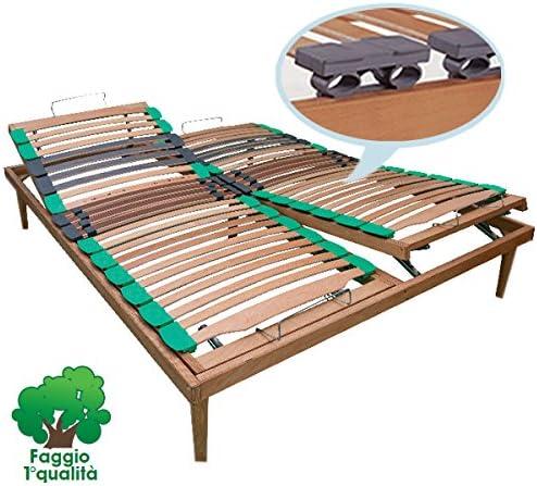 Somier de láminas en madera de haya, regulación manual, ortopédica, 160 x 190 cm, patas incluidas