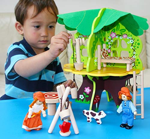 Toys of Wood Oxford Wooden Doll House -Tree House with Furniture - Dolls and Accessories - Wooden Toys for 3 Years ()