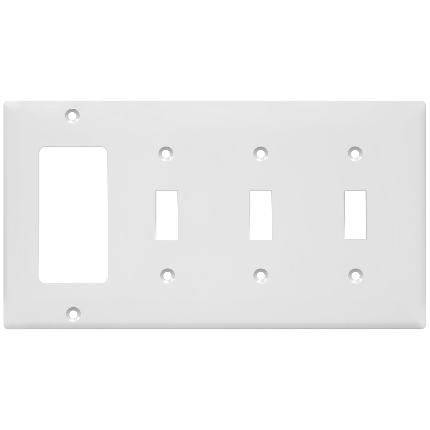 Enerlites 881331-W Combination Wall Plate(Three Toggle Switch/Single Decorator), Standard Size 4-Gang, Polycarbonate Thermoplastic, White