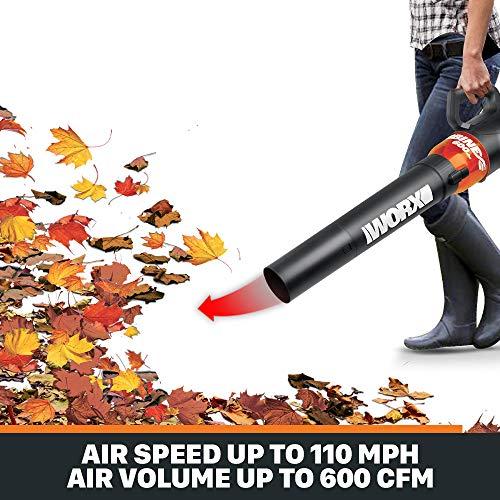WORX WG520 Turbine 600 Electric Leaf Blower, Black