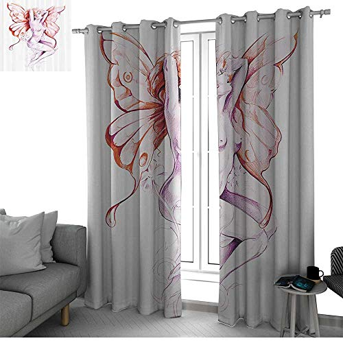 (bybyhome Tattoo Decor Thermal Insulated Blackout Patio Door Curtain Panel Nude Fairy Angel with Feathered Wings Like Butterfly Artistic Feminine Sexy Room Decor for Boys Lilac Coral W120 x L96 Inch)