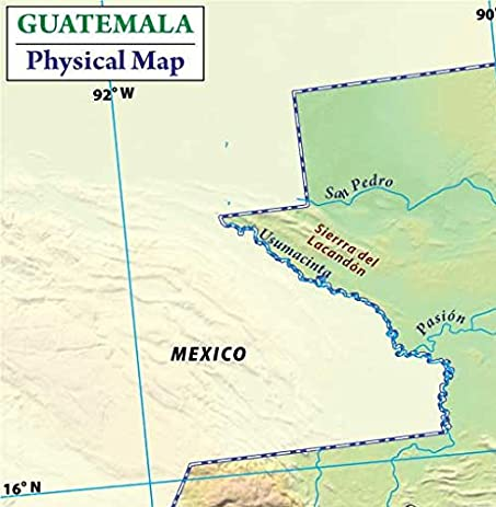 Amazoncom Guatemala Physical Map 36 W x 3668 H Office Products