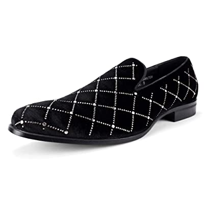 Amazon.com | AFTER MIDNIGHT Hamilton AM Exclusive Smoker Shoe with Black Velvet and Studs | Loafers & Slip-Ons