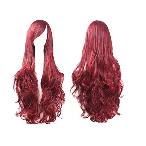 Dress Party Hair Wigs - Long Wigs, Color Curly Wigs Natural Wavy Heat Resistant Synthetic Cosplay Hair Wigs for Halloween Women Girls Dress Party Favor (Red Wine)