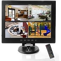 Sourcingbay MOT-YT12 12-Inch CCTV TFT LCD Monitor, VGA/AV/HDMI/BNC Input with Remote Control (Black)