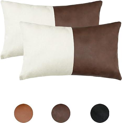 Long lumbar pillow Tan cushion cover