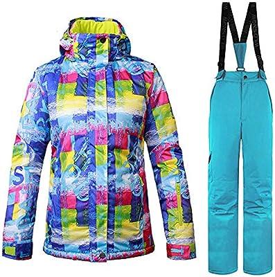 ZYJANO Traje de esquí,Traje de esquí Mujer A Prueba de Viento ...