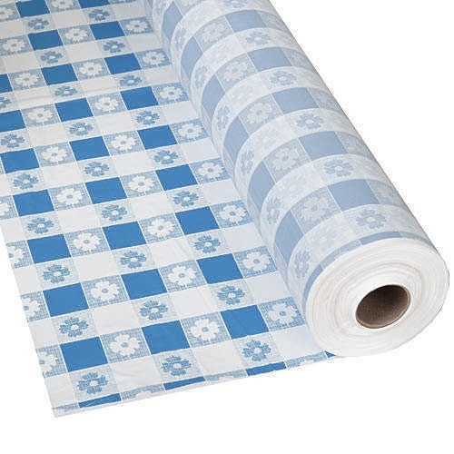 Plastic Party Banquet Table Cover Roll - 300 ft. x 40 in. - Disposable Vinyl Tablecloth (Blue Gingham) - Gingham Plastic Banquet Roll