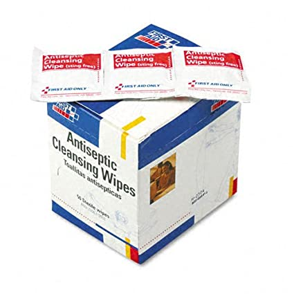 First Aid OnlyTM Antiseptic Cleansing Wipes, 50/box