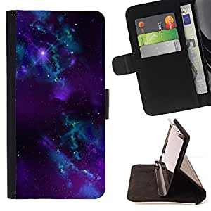 DEVIL CASE - FOR Apple Iphone 5C - Blue Purple Nebula Black Hole Stars Universe - Style PU Leather Case Wallet Flip Stand Flap Closure Cover