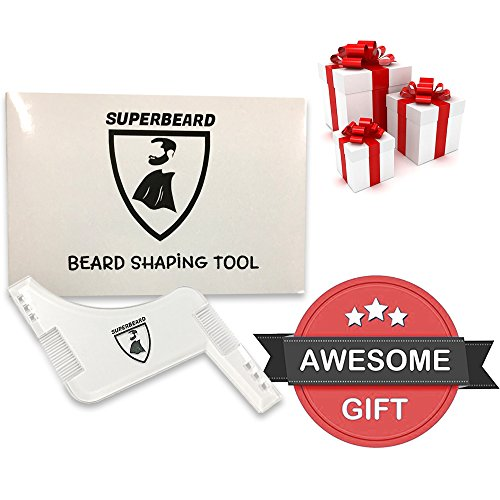 Beard Shaping Tool Or Template, Clear Shaper , Beard Shaping & Styling Tool with inbuilt comb for perfect line up & edging, use with a beard trimmer or razor to style your beard by SUPERBEARD