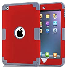 iPad Mini 4 Case,Lantier [Thin Slim][Shock Absorption][Slick Touch] Drop Protection Armor Hybrid Dual Layer Defender Protective Case Cover for Apple iPad Mini 4 Deep Grey+Red