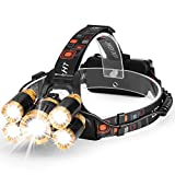 Akale Rechargeable Headlamp, Super Bright LED Headlights with 8000 Lumens, Zoomable, IP65 Water-Resistant, 5 Light Modes For Camping, Security, Emergency Use Night Readin (2 18650 2500mah Included)