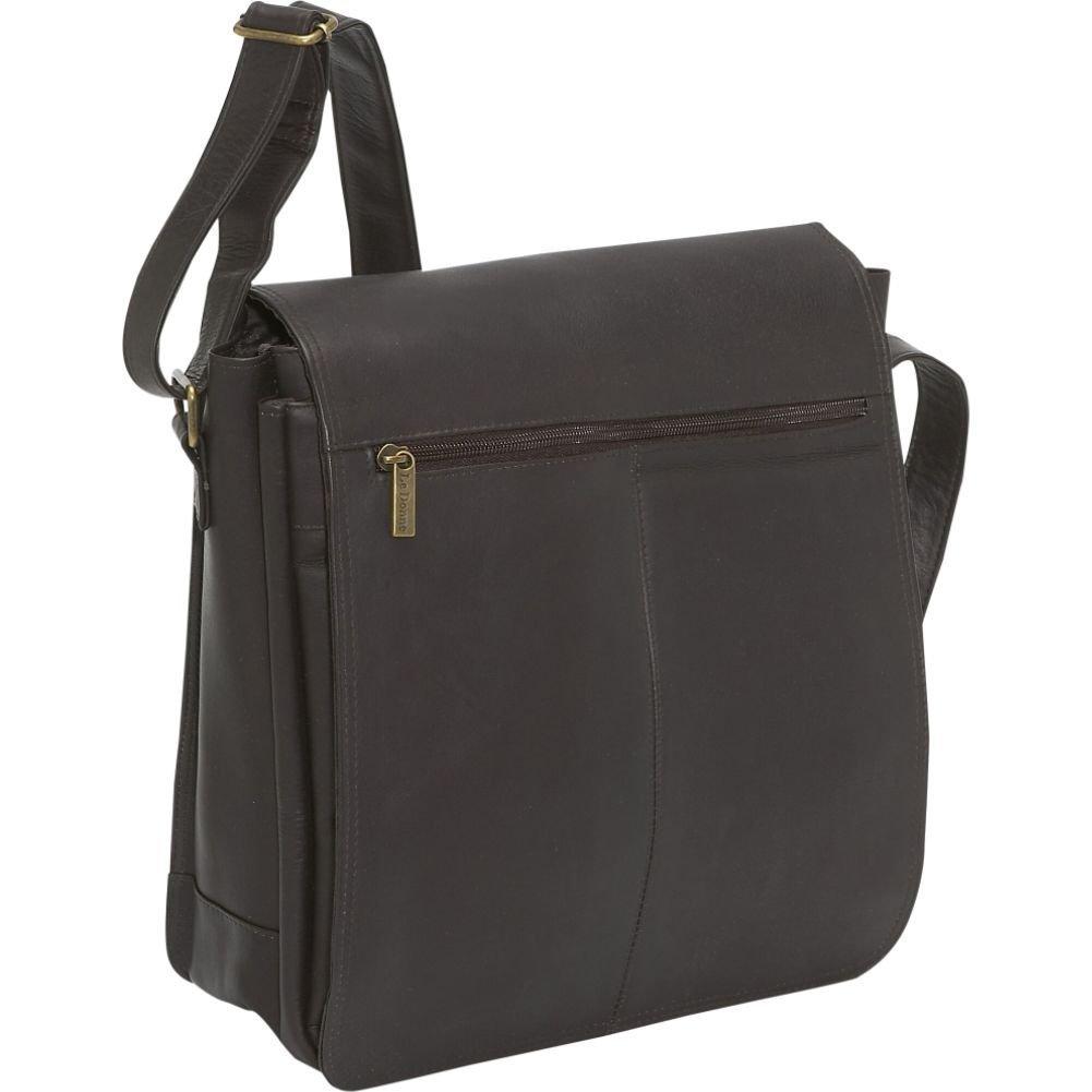 Leather Computer Bag in Cafe Le Donne N//S Flap Over Laptop Messenger Bag
