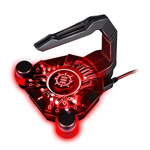 ENHANCE Mouse Bungee Cord Holder and Active USB Hub with Red LED Lighting - Boost Gaming Accuracy By Eliminating Cable Drag - for Dota 2 , League of Legends , World of Warcraft , Battlefield (Raptor M45 Gaming Mouse)