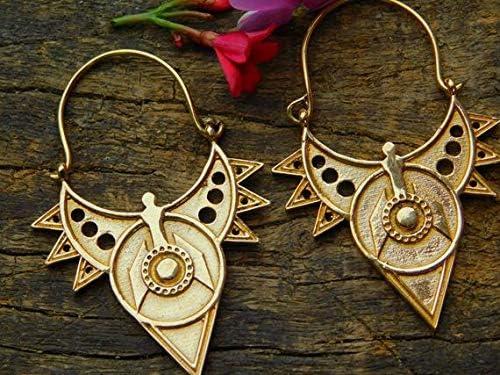 Clip On Boho Gypsy Bellydancer Silver plated Star Fringe Hoop Earrings