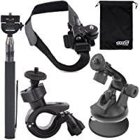 EEEKit 5in1 Bike Car Sports Mount Kit for forPolaroid XS100 i/ XS100 / XS80 Action Camera,Selfie Stick Monopod + Bike Handlebar + Helmet/Car Suction Cup Mount