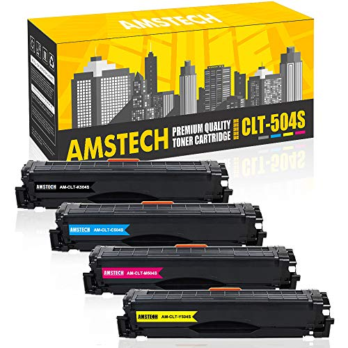 Amstech Compatible Toner Cartridge Replacement for CLT-504S Toner for Samsung Xpress SL-C1860FW SL-C1810W C1810 C1860 CLX-4195FW CLP-415NW CLX-4195 CLX-4195N SL-C1860FW/XAA CLT-K504S (4-KCMY)