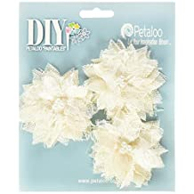 "DIY Paintables Burlap Bird's Nest Flowers 2.75"" 3/Pkg-Ivory"