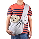 CISNO Dog Sling Carrier with Pouch Adjustable Strap, Carry Pet 7-11 Lbs-Cotton Fleece Fabric (270g cotton fabric Grey)