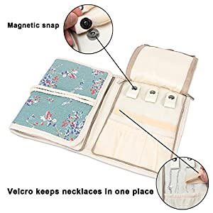 Teamoy Jewelry Organizer, Travel Jewelry Roll Case for Necklaces, Earrings, Bracelets, Rings, Brooches and More, Beautifully Made, Lightweight and Easy to Carry, Plum Flowers