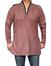 Cotton Mens Short Kurta Shirt India Traditional Apparel