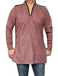 Maple Clothing Cotton Mens Short Kurta Shirt India Traditional Apparel