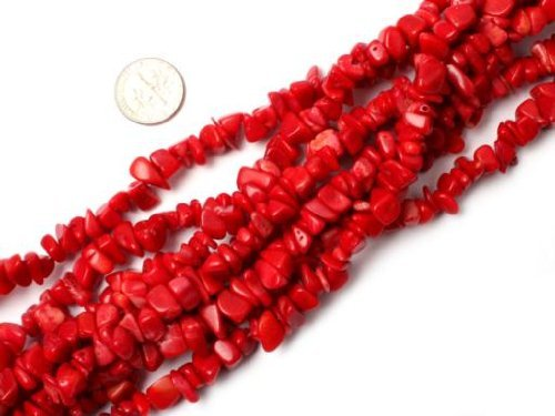 Chip Red Bracelet Coral (SHG Store 7-8mm Red Coral Chips Beads Strand 34 Inch Jewelry Making Beads Agate Chips for Bracelet Necklace Earrings Jewelry Making Crafts Design Healing Wholesale Loose Beads)