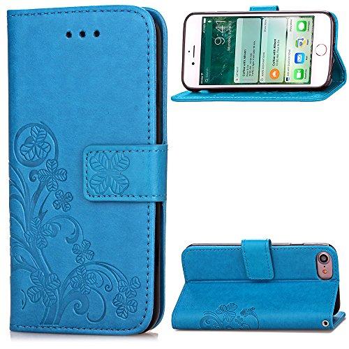"""Schutzhülle iPhone 7 , LH ( Pur Blau Hintergrund ) Case Cover PU Leder Portemonnaie Hülle Wallet Flip Kasten Abdeckung Magnetischer Fall Schale Tasche für Apple iPhone 7 4.7"""""""
