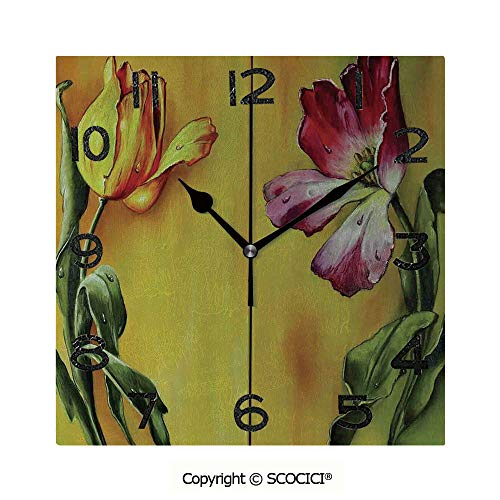 SCOCICI Square Wall Clock Painting of Curving Tulips Romantic Dramatic Blooming Flower Retro Art Print Decorative 8 inch Morden Wall Clocks Silent Square Decorative Clock Blooming Flower Wall Clock