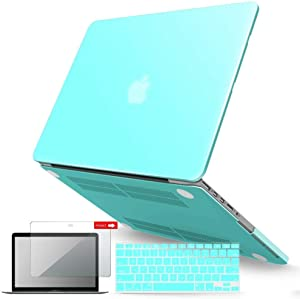IBENZER MacBook Pro 13 Inch Case 2015 2014 2013 end 2012 A1502 A1425, Hard Shell Case with Keyboard Cover & Screen Protector for Old Version Apple Mac Pro Retina 13, Turquoise,R13TBL+2A