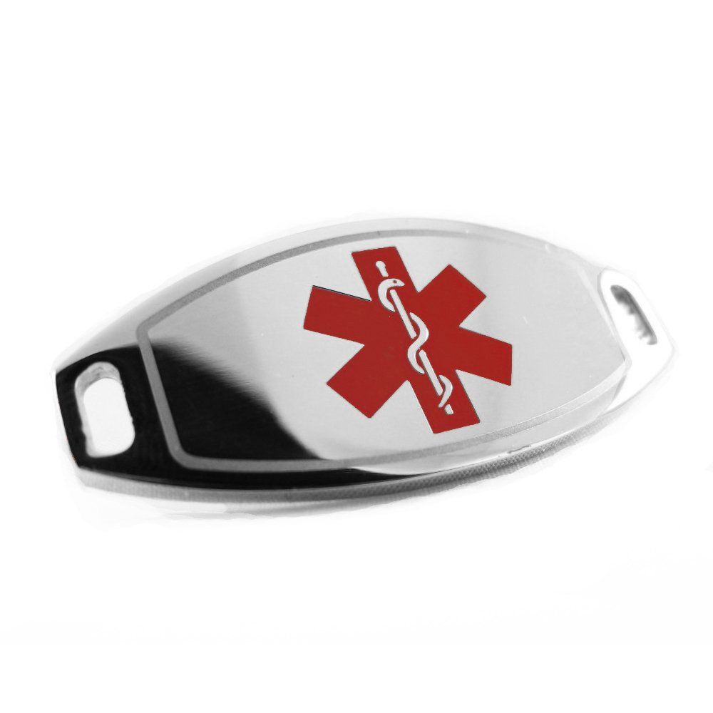 MyIDDr - Steel, Medical Alert ID Plate, Can be Attached to an ID Bracelet, Red Symbol My Identity Doctor i1R(BLANK)