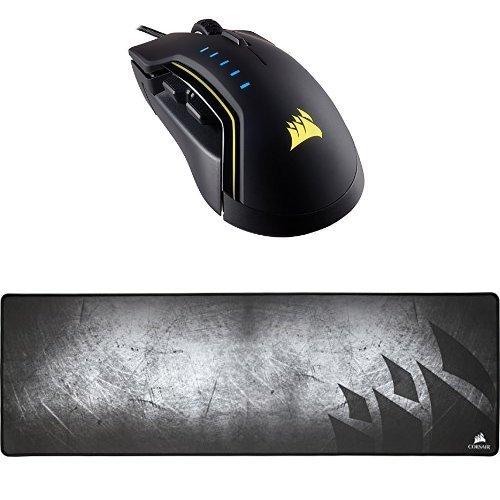 Corsair GLAIVE RGB Gaming Mouse Backlit LED 16000 DPI Optical Black and Corsair Gaming MM300 Anti-Fray Cloth Gaming Mouse Pad Extended [並行輸入品] B078GBWDRQ