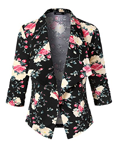 ROOSEY Women's Floral Printed Casual Work Office Open Front Blazer Jacket