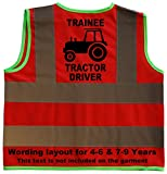Trainee Tractor Driver Baby/Children/Kids Hi Vis Safety Jacket/Vest Size 4-6 Years Red Optional Personalised On Front