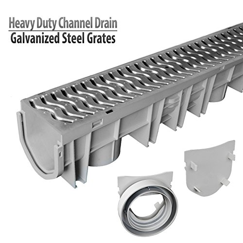 Source 1 Drainage Trench & Driveway Channel Drain Kit with Galvanized Steel Grate