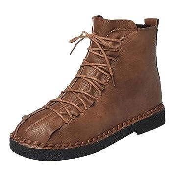 Logobeing Botines Mujer Planos Tacon Invierno Ancho Piel Botas Zapatos de Plataforma Altas Boots Vintage Zapatos Combat Botas de Cordones(35,Marrón): ...
