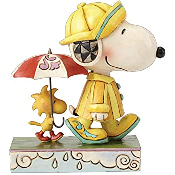 enesco jim shore peanuts friends through rain or shine snoopy woodstock figure 4055654