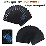 Joyoldelf Waterproof Poker Playing Cards, PVC Deck of Card with Black Backing in Box Great Gift for Family Party BBQ Game