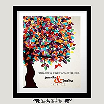 10 Year Anniversary Personalized 8x10 Gift For Husband Wife Colorful Fruit Tree Wedding 1st