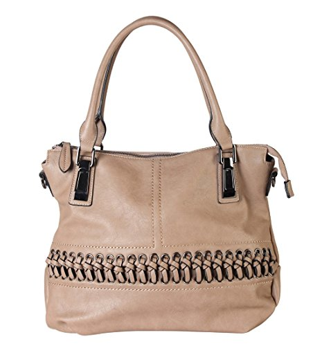 Hobo Accented Large - Diophy PU Leather Laced-Front Tote Womens Purse Handbag Accented with Removable Strap CZ-1600 Khaki